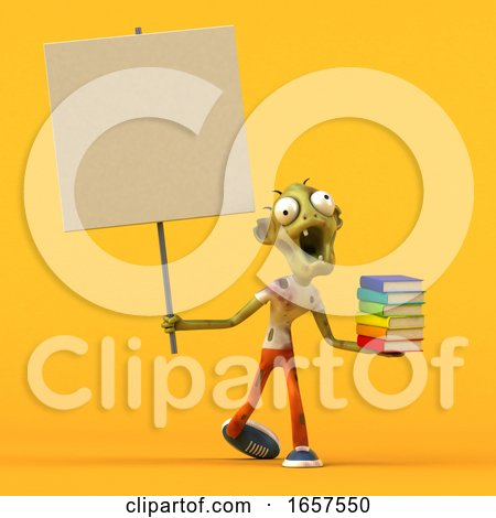 3d Zombie, on a Yellow Background by Julos