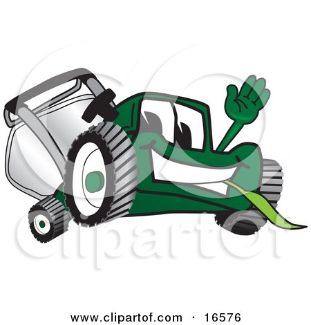 Clipart Picture of a Green Lawn Mower Mascot Cartoon Character Waving Hello by Toons4Biz