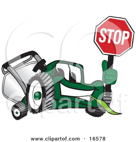 Clipart Picture of a Green Lawn Mower Mascot Cartoon Character Holding up a Stop Sign by Toons4Biz