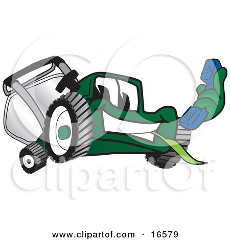 Clipart Picture of a Green Lawn Mower Mascot Cartoon Character Holding Out a Blue Telephone by Toons4Biz