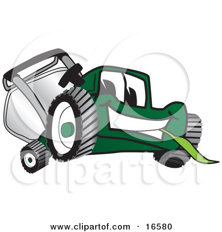 Green Lawn Mower Mascot Cartoon Character Facing Front and Eating Grass Posters, Art Prints