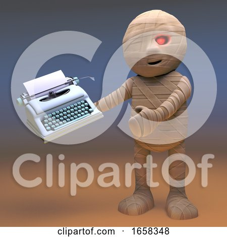 This Is the Typewriter Egyptian Mummy Monster Will Write His Novel On Posters, Art Prints