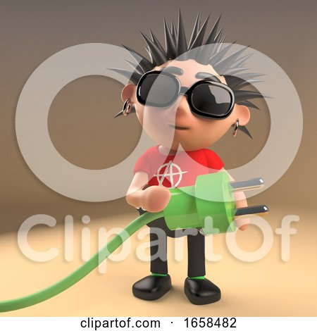 Cartoon Punk Rocker Using Green Energy Lead and Plug by Steve Young