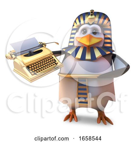 Funny Cartoon Egyptian Penuin Pharaoh Holding a Golden Typewriter by Steve Young