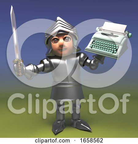 Is the Typewriter Mightier Than the Sword Asks Medieval Knight Posters, Art Prints