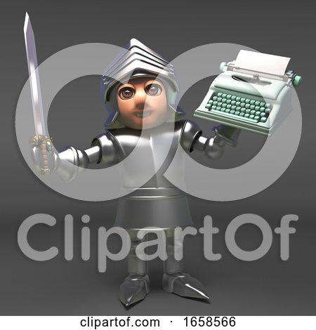 Chivalrous Medieval Knight in Armour Prepares to Write a Novel Posters, Art Prints