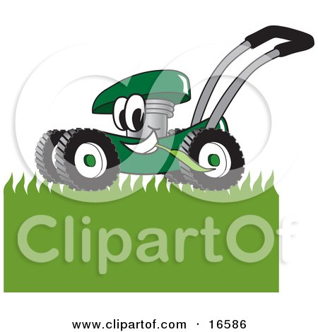 Clipart Picture of a Green Lawn Mower Mascot Cartoon Character Mowing Grass by Toons4Biz