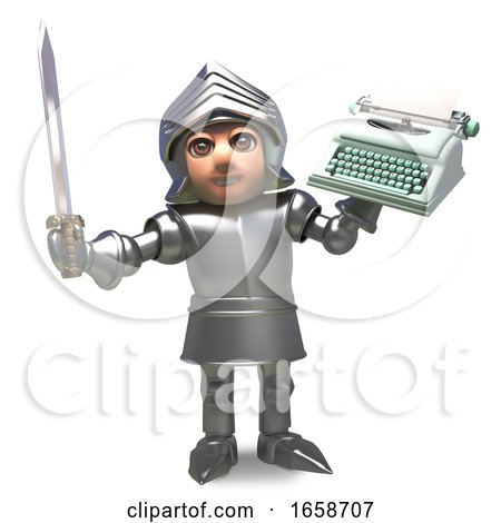 Medieval Knight in Armour Will Write His Memoirs with This Typewriter Posters, Art Prints