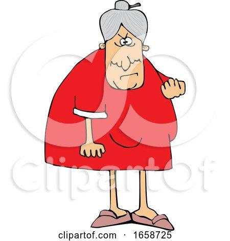 Cartoon Mad Granny Flipping the Bird by djart