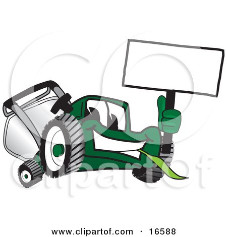 Clipart Picture of a Green Lawn Mower Mascot Cartoon Character Waving a Blank Sign by Toons4Biz
