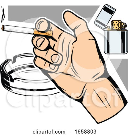 Hand Holding a Cigarette with a Lighter and Ash Tray by Vector Tradition SM
