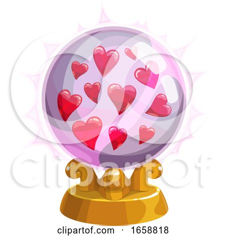 Crystal Ball with Hearts Posters, Art Prints