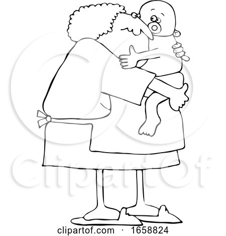 Cartoon Black and White Granny Holding a Baby by djart