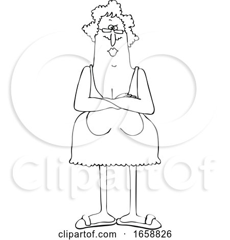 Cartoon Black and White Senior Woman with Her Breasts Hanging Low by djart