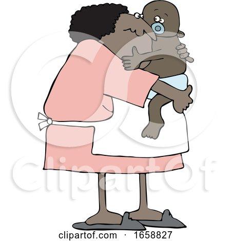 Cartoon Granny Holding a Baby by djart