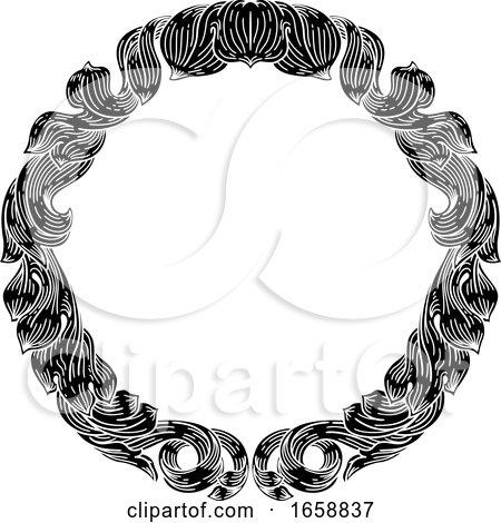 Frame Laurel Filigree Crest Floral Pattern Motif by AtStockIllustration