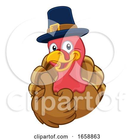 Turkey Pilgrim Hat Thanksgiving Cartoon Character by AtStockIllustration