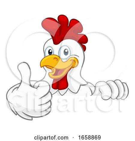 Chicken Rooster Cockerel Bird Cartoon Character by AtStockIllustration
