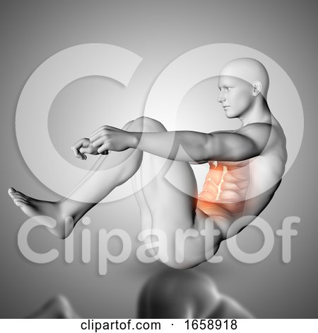 3D Male Figure Doing Crunch Exercise with Stomach Muscles Highlighted by KJ Pargeter