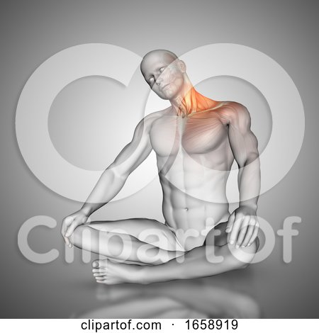 3D Male Figure in Neck Stretch Pose by KJ Pargeter