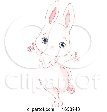 Cute Happy White Bunny Rabbit Jumping by Pushkin