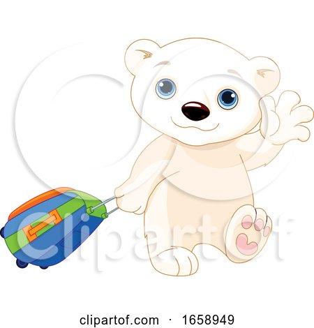 Ciute Polar Bear Traveling and Waving Goodbye by Pushkin