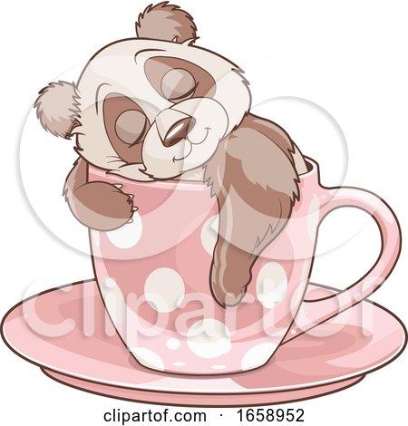 Cute Panda Sleeping in a Cup by Pushkin