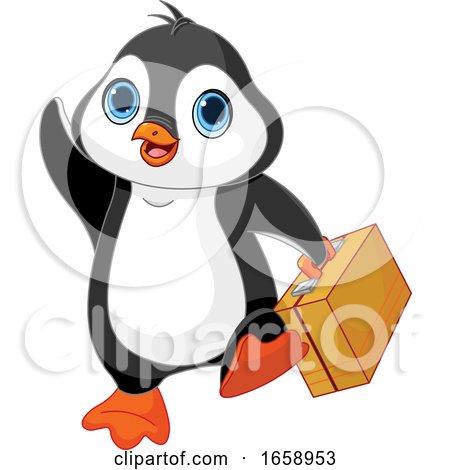 Cute Traveling Penguin Waving by Pushkin