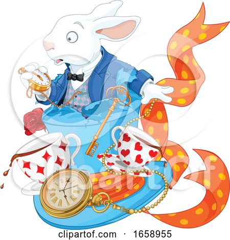 Late White Rabbit Looking at a Watch over Teac Cups and a Clock Posters, Art Prints