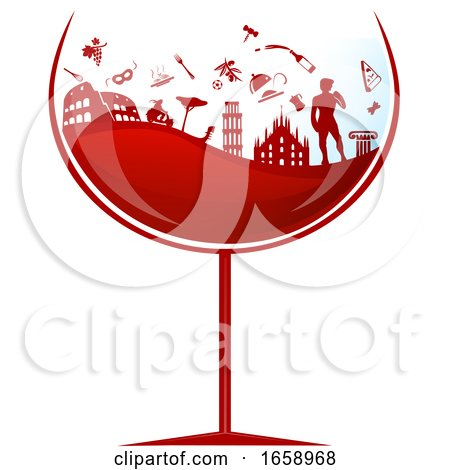 Glass of Red Wine with Silhouetted Italian Travel Icons by Domenico Condello
