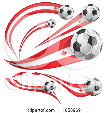 3d Canadian Flag Soccer Ball Banners by Domenico Condello