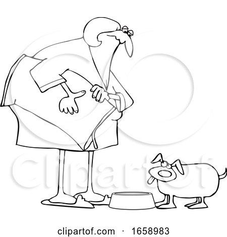 Cartoon Lineart Chubby Woman Feeding Her Dog by djart