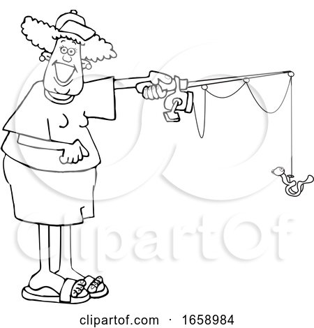 Cartoon Black and White Happy Woman Fishing by djart