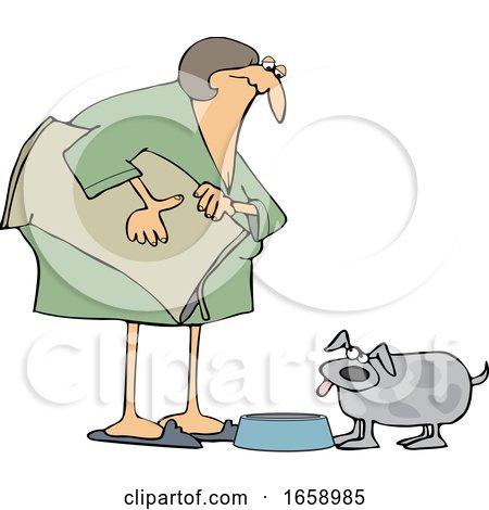 Cartoon Chubby Woman Feeding Her Dog by djart
