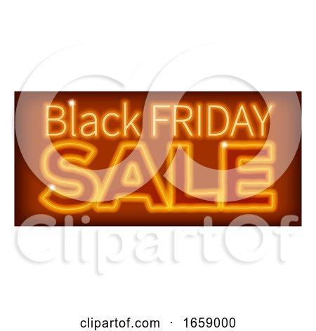 Black Friday Sale Orange Neon Sign by AtStockIllustration