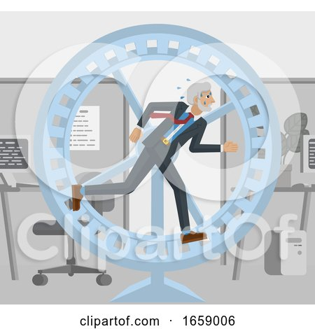 Mature Business Man Hamster Wheel Stress Running by AtStockIllustration