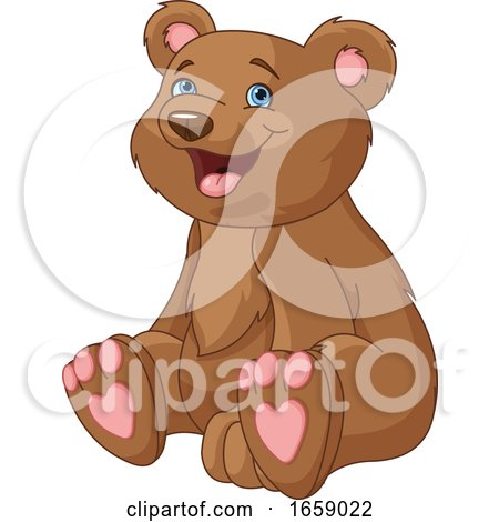 Cute Bear Cub with Heart Pads on His Feet by Pushkin