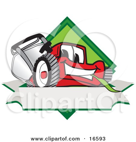 Clipart Picture of a Red Lawn Mower Mascot Cartoon Character on a Blank Label by Toons4Biz