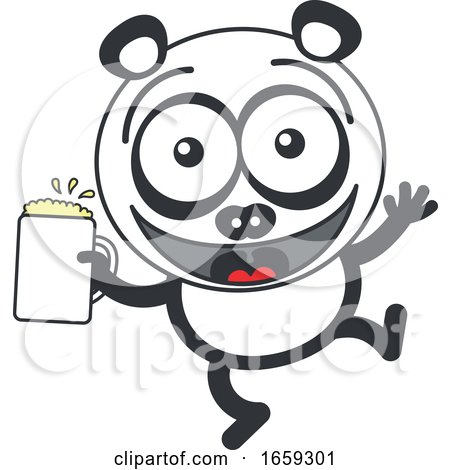 Cartoon Panda Holding a Beer by Zooco