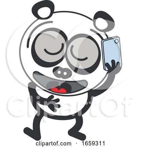 Cartoon Panda Talking on a Phone by Zooco