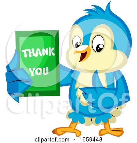 Blue Bird Is Holding a Thank You Card by Morphart Creations
