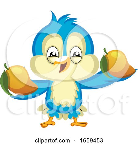 Blue Bird Holds a Yellow Fruits by Morphart Creations