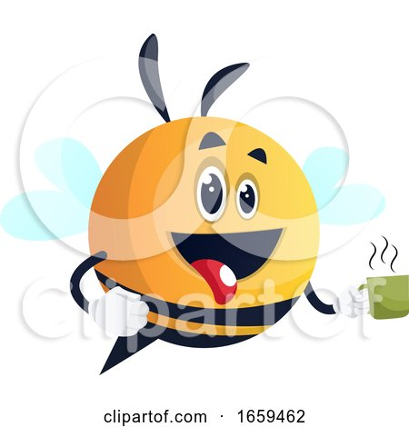Bee Holding a Cup, Bee Holding a Cup of Coffee, Be Holding a Cup of Tea Posters, Art Prints