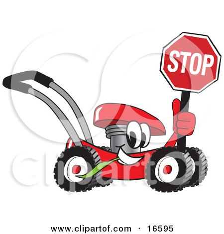 Clipart Picture of a Red Lawn Mower Mascot Cartoon Character Holding a Stop Sign by Toons4Biz