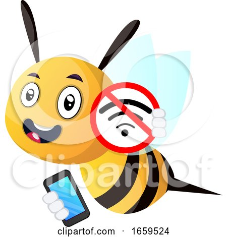 Bee Holding a Phone, No Wifi by Morphart Creations