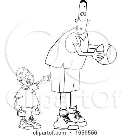 Cartoon Black and White Little Boy Poking a Basketball Player by djart
