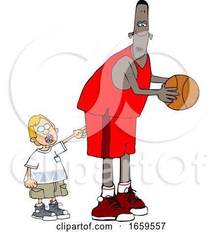 Cartoon Little Boy Poking a Basketball Player by djart