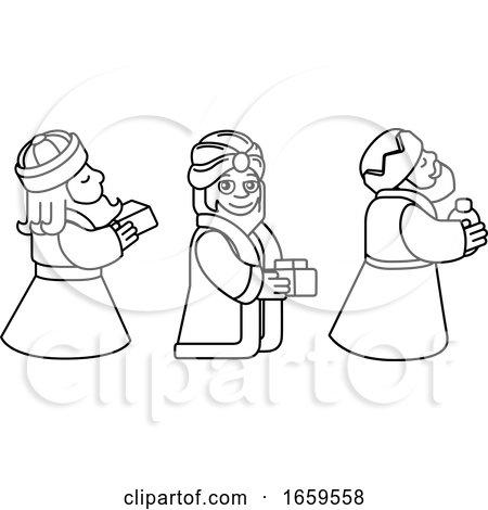 Wise Men Christmas Nativity Scene Cartoon by AtStockIllustration
