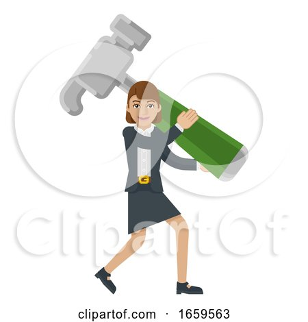 Business Woman Holding Hammer Mascot Concept by AtStockIllustration