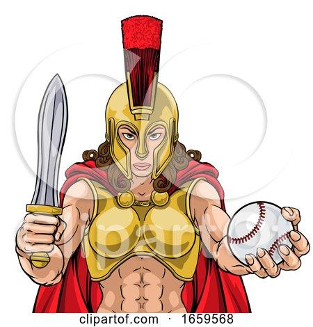 Spartan Trojan Gladiator Baseball Warrior Woman by AtStockIllustration